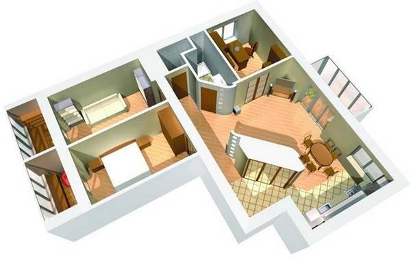 Дизайн однокомнатной квартиры-студии: проект