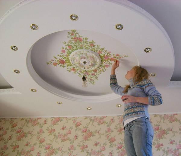 Рисунки на потолке: на белом своими руками, фото дизайна, простые и любые можно, орнаменты трафаретом как облака в интерьере